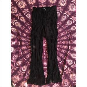 Rewash 🌚 Black Tie Up Elastic Flare Pants